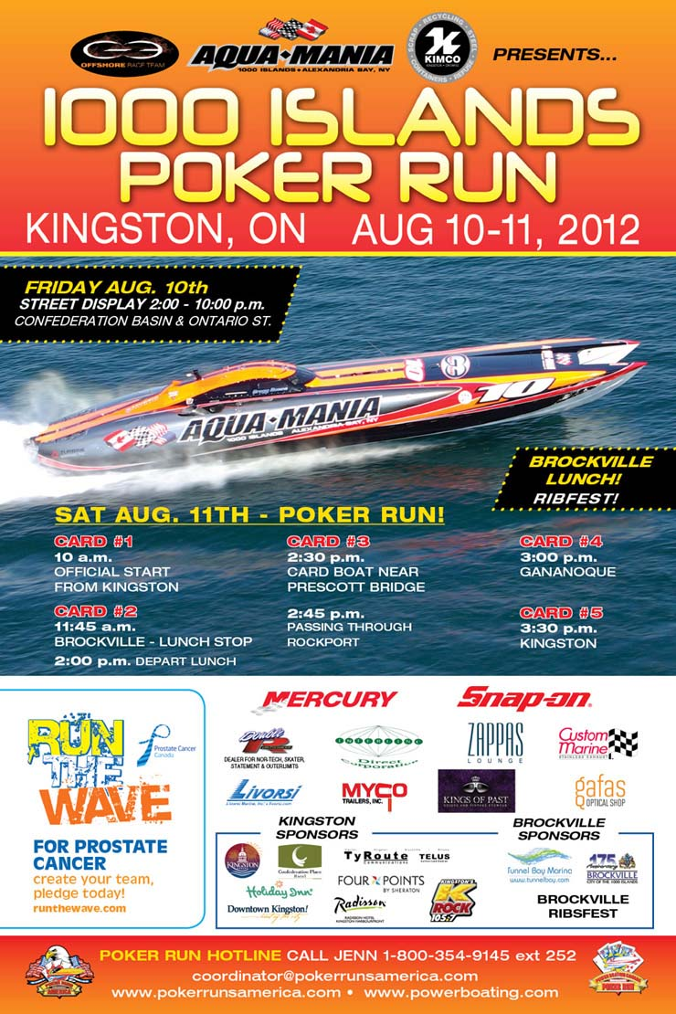 1000 Islands Poker Run August 10-11, 2012